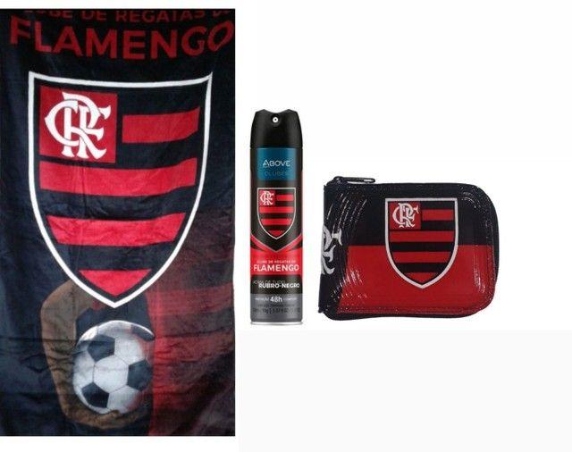 Kit Flamengo toalha + carteira + Desodorante Aerosol 48h