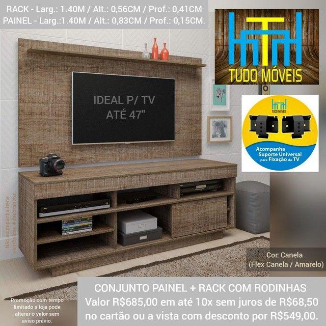 RACK COM PAINEL 1.40M P/ TV até 47' (MONTAGEM GRÁTIS)