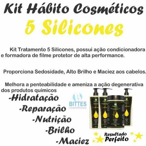 5 Kit Tratamento Hábito Cosméticos 5 silicones Hidratação Reparação Nutrição Brilho Força - Foto 4
