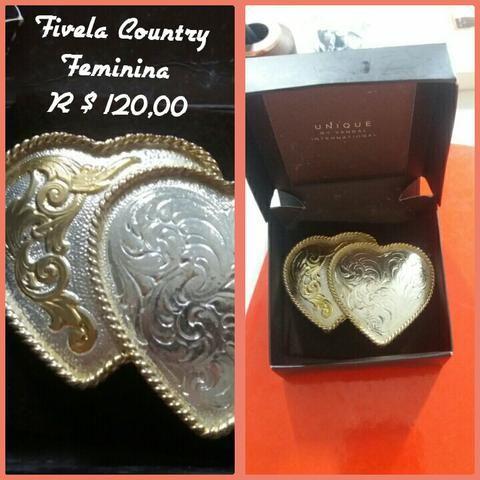 Fivela Country 2 corações - Bijouterias 16853ed3594
