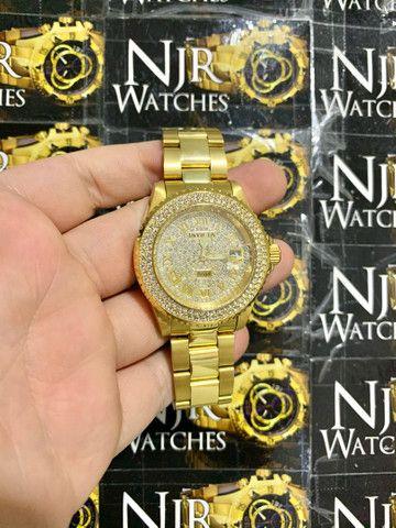Relógio Invicta angel cravejado novo banhado a ouro