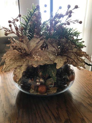 Decoração de Natal de mesa, cor bronze, vaso Redondo - Foto 4