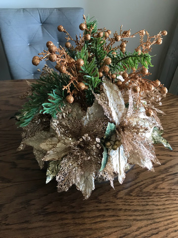 Decoração de Natal de mesa, cor bronze, vaso Redondo - Foto 3