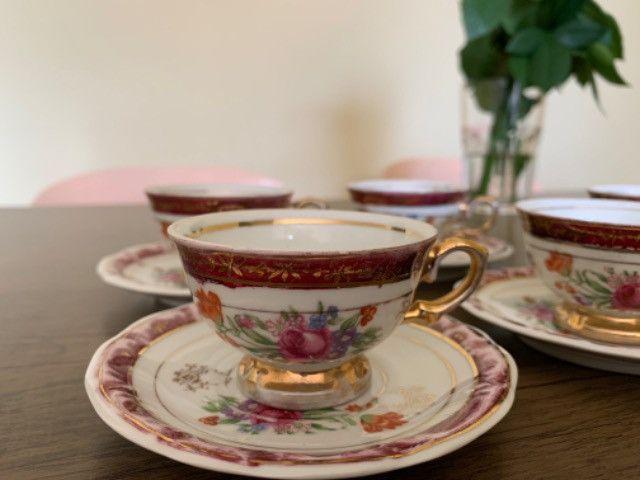 Jogo de xícaras porcelana schmidt antiga