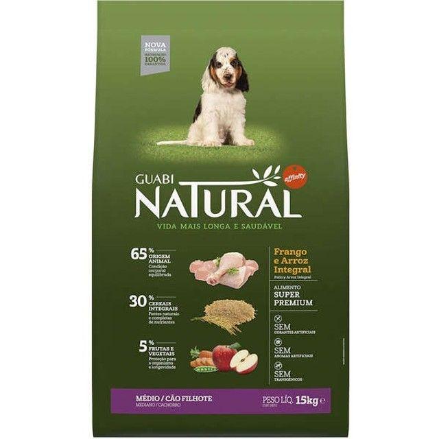 Ração Guabi Natural Frango e Arroz Integral para Cães Filhotes Raças Média 15kg
