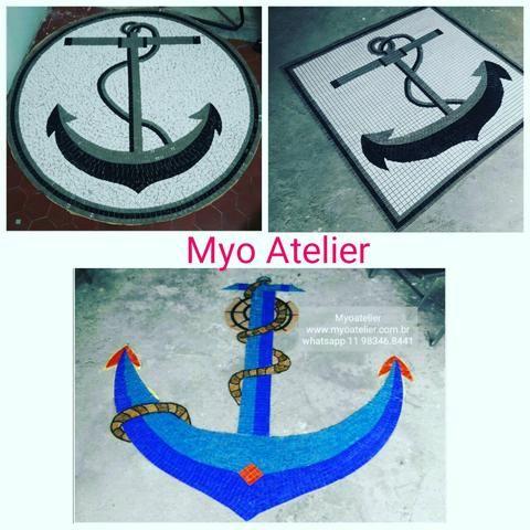Âncora Mosaico, piscina, golfinho, mandala, piso mosaico
