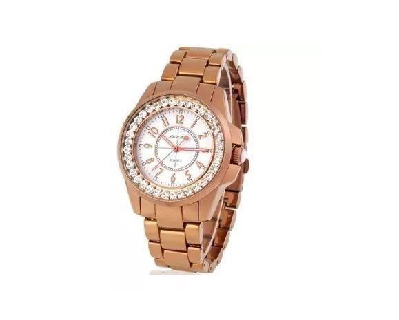 8d6121332e1 Relógio Feminino De Pulso Sinobi Dourado ouro Aço Inoxidáve ...