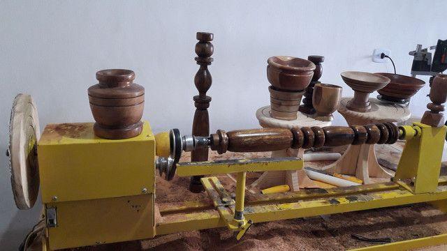 Torno de tornar madeira c.copiador marca de fabricação gomme usado para testes  - Foto 4