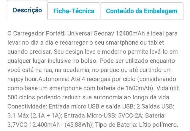 Carregador Portátil Universal Geonav - 12400mAh -  Novo c/ Garantia - Foto 2