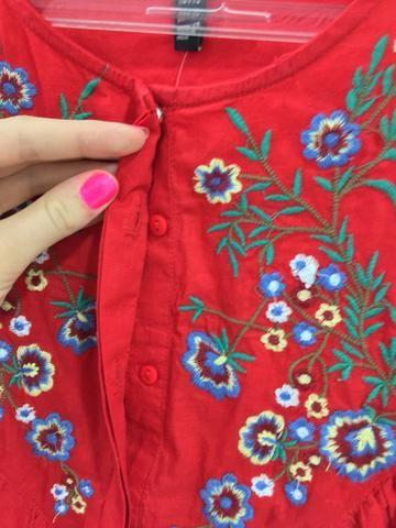 Camisa bordada vermelha - Roupas e calçados - Uberaba 31b263b6fc500