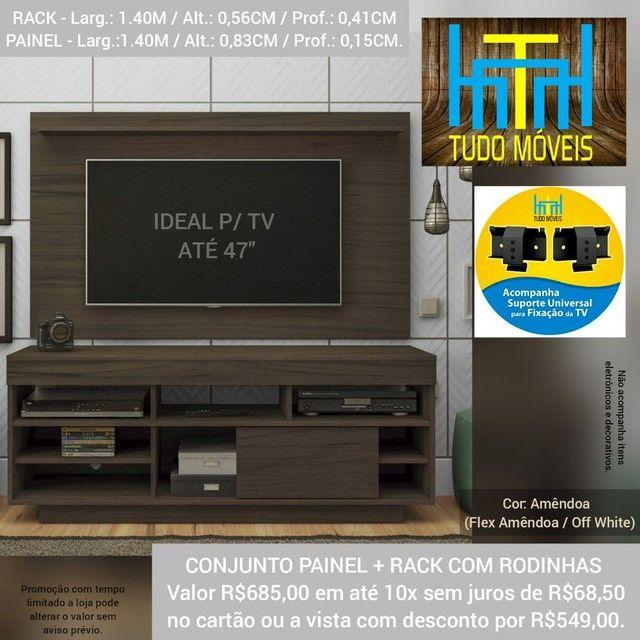 RACK COM PAINEL 1.40M P/ TV até 47' (MONTAGEM GRÁTIS) - Foto 4