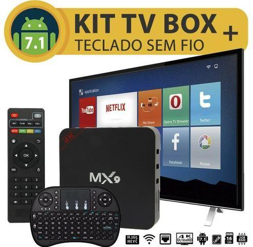 Kit Smart Tv Box Mx9 + Teclado Sem Fio 2gb Ram 16gb Rom Android 7.1