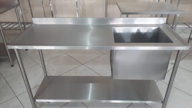 Mesa Pia Cozinha Industrial 1,50x0,60 Cuba 50x40x40 100% Inox - Foto 5