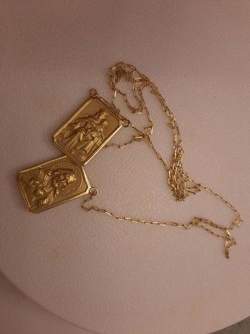 Escapulario de ouro 18k N. Sra. Do Carmo e Sagrado coração de Jesus