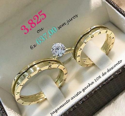 5541a7d3d7e Par de alianças bvlgari e anel solitario em ouro 18k - Bijouterias ...