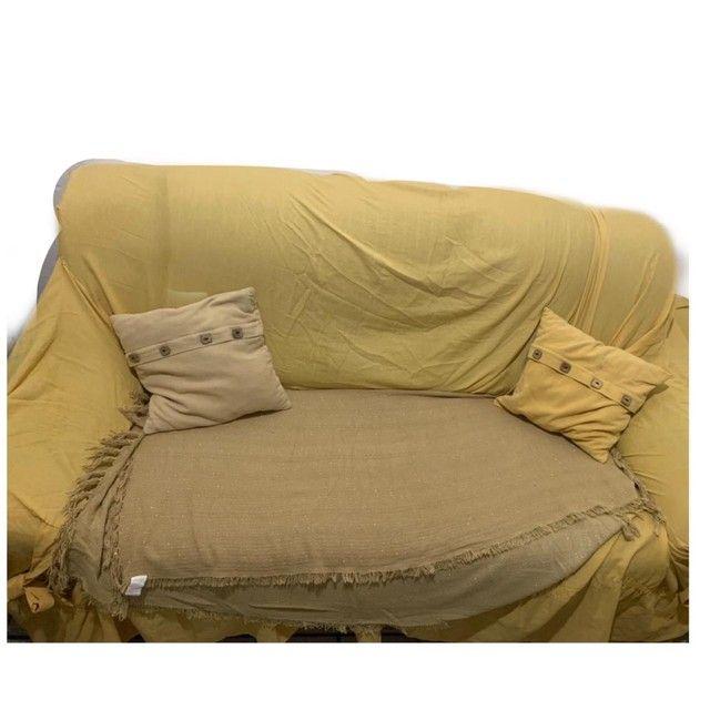 Sofás 3 e 2 lugares semi novos com almofadas  - Foto 3