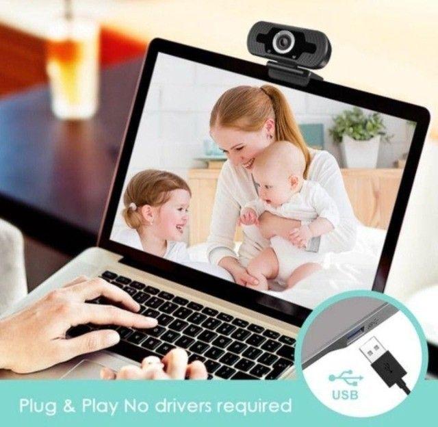 Webcam Microfone Câmera Full Hd 1080p Computador Plug & Play Microfone Embutido - Foto 2