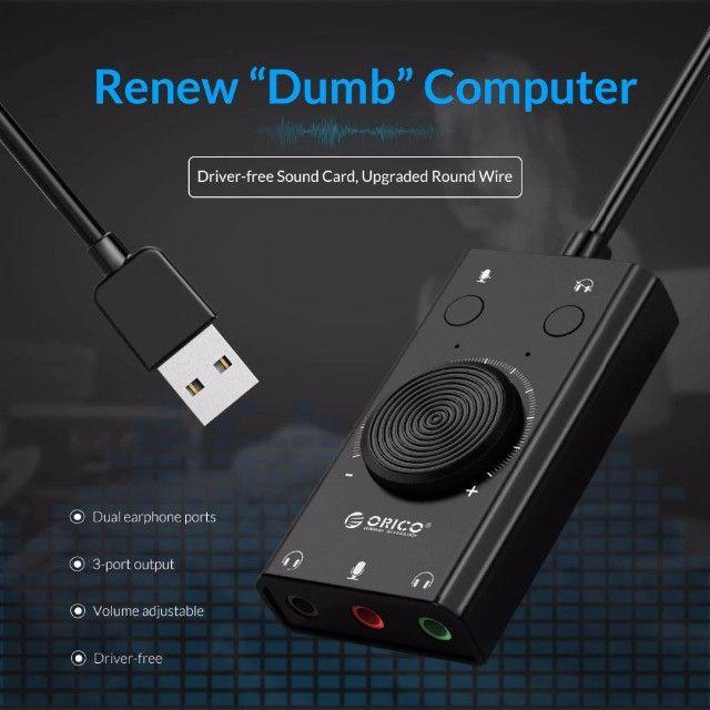 Placa de Som USB Externa Multifunção TOP!!! até 12x no cartão - Foto 3
