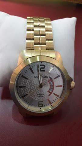 474e674646b Relógio Seculus Original Dourado - Bijouterias