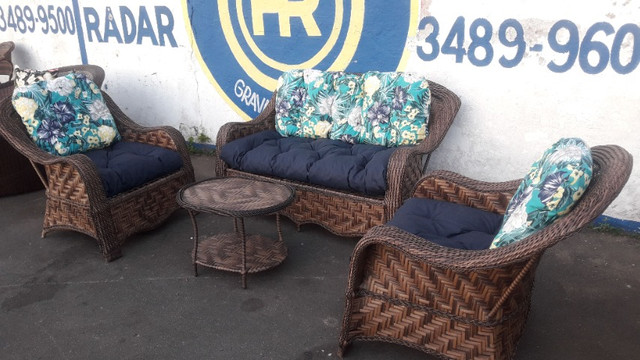 Conjunto de sofá campinas em fibra sintética - Foto 2