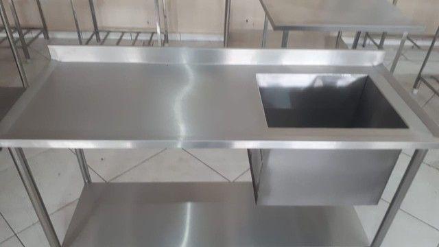 Mesa Pia Cozinha Industrial 1,50x0,60 Cuba 50x40x40 100% Inox - Foto 2