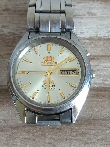 adbf33753b2 Relógio orient automático crystal 21 jewels masculino fundo dourado ...