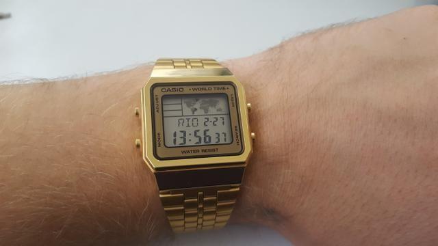 8bda3449f08 Relógio Casio Vintage Hora Mundial A500WGA-9DF Dourado - Original ...