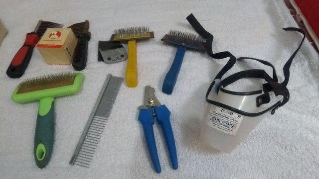 Acessórios para banho e tosa + lâmina 10 usada