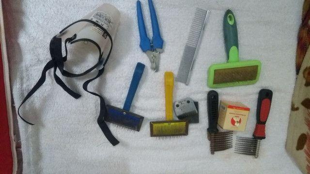 Acessórios para banho e tosa + lâmina 10 usada  - Foto 2
