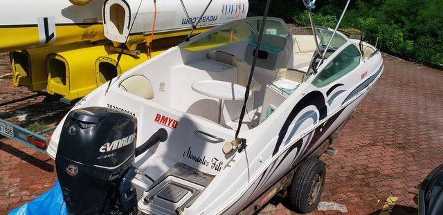 Lancha 19 pés  motor envirude etec 90hp com cerreta rodoviária  - Foto 9