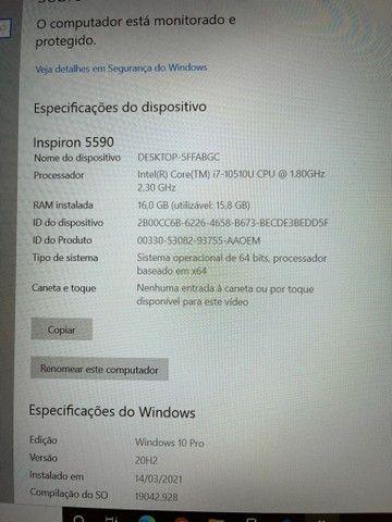 Notebook Dell Inspiron I7 16GB RAM SSD NVIDIA GEFORCE 15.6 Polegadas Novo NF - Foto 5