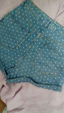 Short Jeans Cintura Alta Estampado - Foto 2