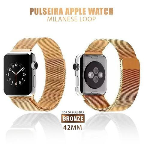 077d5bb86fb Pulseira Apple Watch Estilo Milanês 42mm Series Smartwatch ...