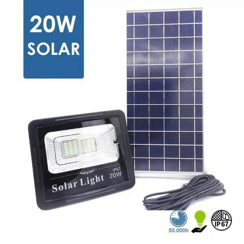 Refletor Led 20w Recarregavel com Placa Solar