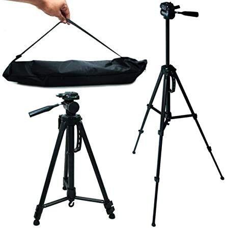 Tripé de Alumínio Profissional 1.3M c/ Suporte para Câmera Fotográfica e Celular