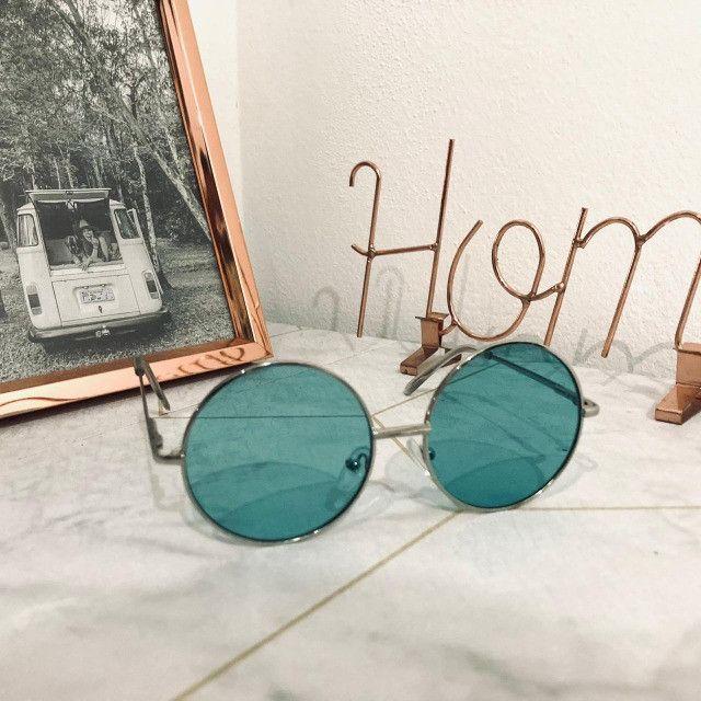 Óculos De Sol Redondo Circular Preto, Rosa ou Verde Unissex Retro Vintage Ozzy - Foto 5