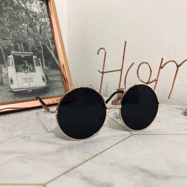 Óculos De Sol Redondo Circular Preto, Rosa ou Verde Unissex Retro Vintage Ozzy