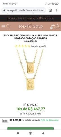 Escapulario de ouro 18k N. Sra. Do Carmo e Sagrado coração de Jesus - Foto 3