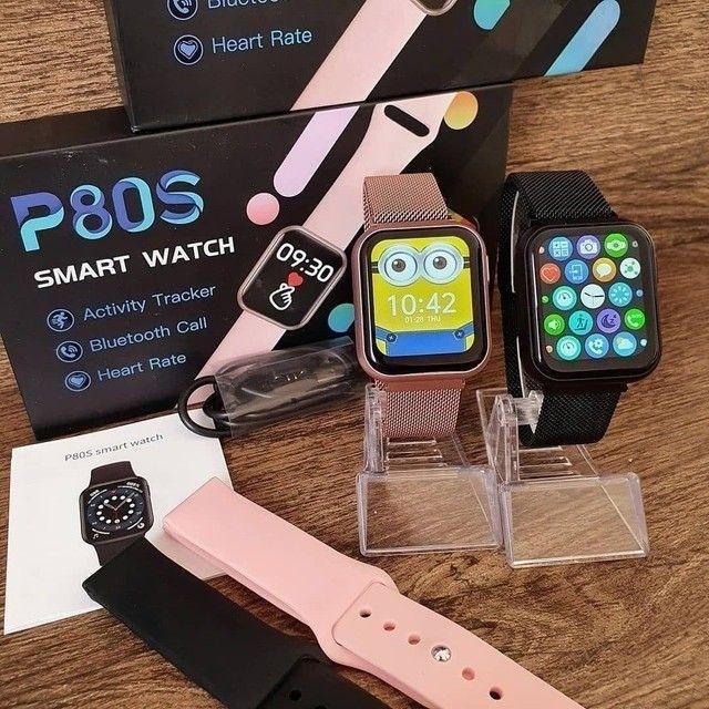 Relógio Smartwatch P80S 40mm Rose com 2 Pulseiras Coloca foto e Faz ligação - Foto 2