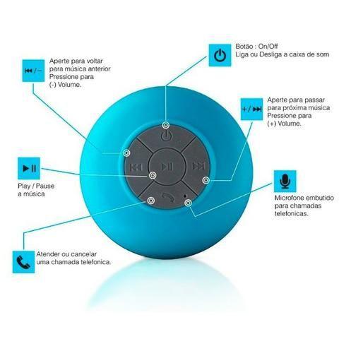 Mini Caixa Som Bluetooth Portátil Prova De Água Ventosa Várias Cores - Foto 2