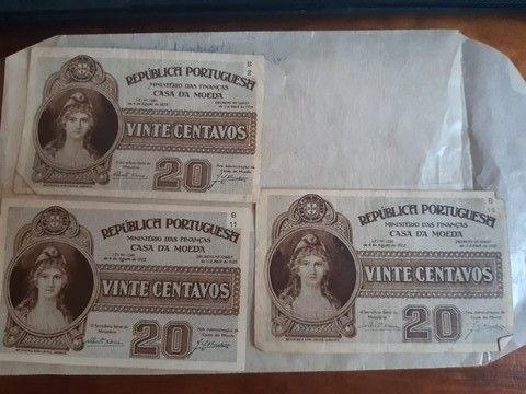 3 cédulas 20 Centavos Republica Portuguesa 1925