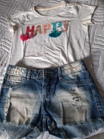 Conjuntos de shorts e blusas infantojuvenil