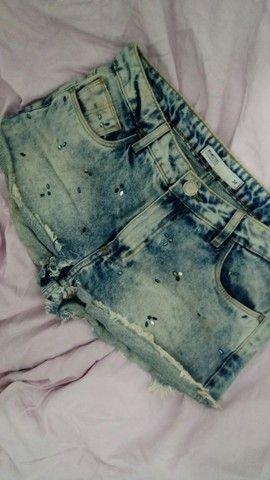 Short Jeans Com Miçangas