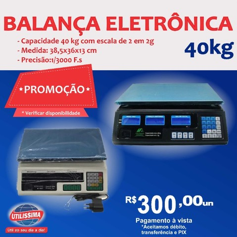 Balança Eletrônica Digital 40kg Alta Precisão/bateria recarregável