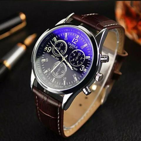 43f10d29dbb Relógio Luxo Masculino Yazole Pulso Social Pulseira Marrom ...