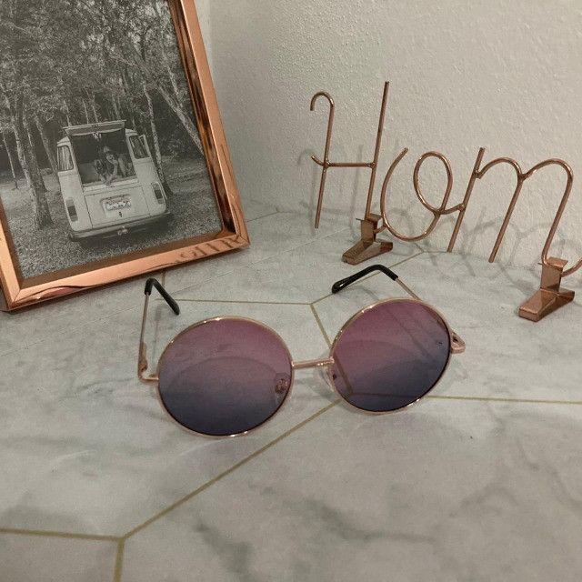Óculos De Sol Redondo Circular Preto, Rosa ou Verde Unissex Retro Vintage Ozzy - Foto 3