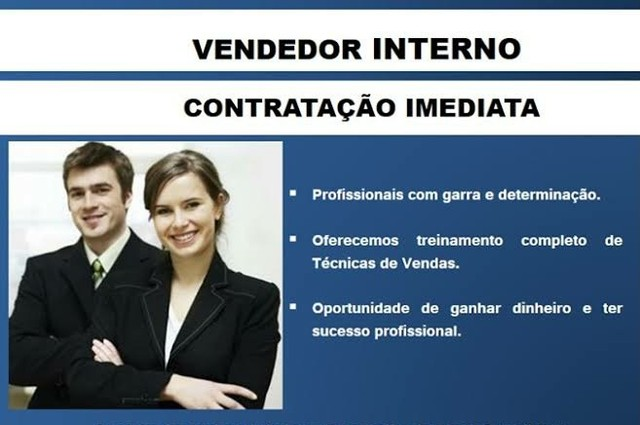 Contratamos Consultor de vendas Interno