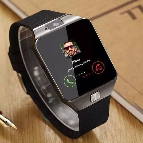 15b5eee9f85 Relógio Smartwatch Bluetooth Gear Dz09 com Câmera e entrada para chip  +  cartão SD