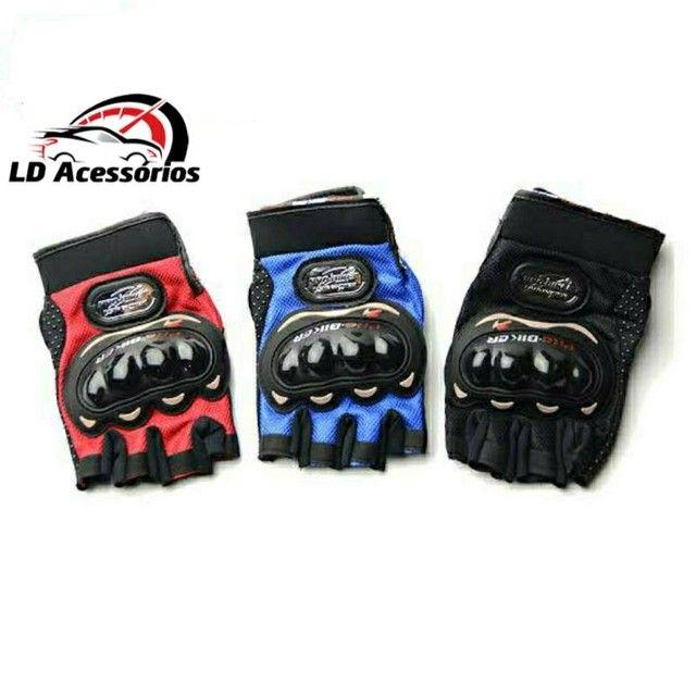 Luva Meio Dedo Reforçada com Proteção Motocross Motociclista Ciclista - Pro Biker