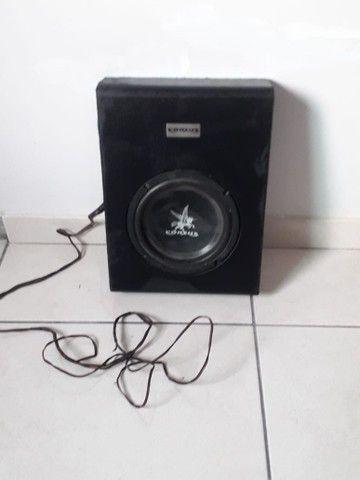 Caixa subwoofer 8 pol som 350w slim cor-zus + dois canais estéreos